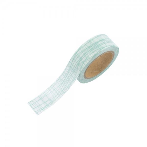 Washi Tape - Weiß mit türkisen Fäden