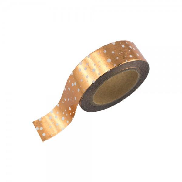 Washi Tape - Kupfer (glänzend) mit weißen Punkten