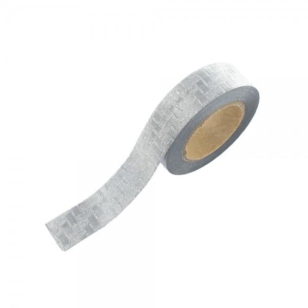 Washi Tape - Silber Kacheln (glänzend/glitter)