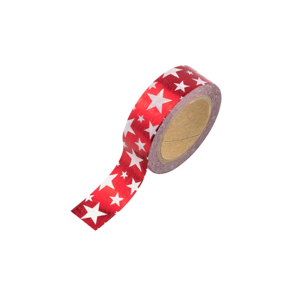 washi tape rot gl nzend mit wei en sternen washi tape24. Black Bedroom Furniture Sets. Home Design Ideas