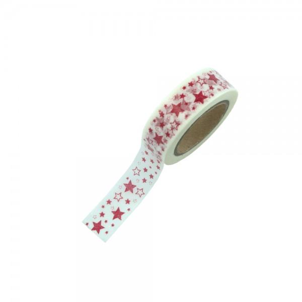Washi Tape - Weiß mit roten Sternen