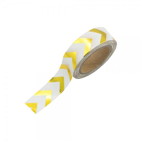 Washi Tape - Weiß mit goldenen Pfeilen (glänzend)