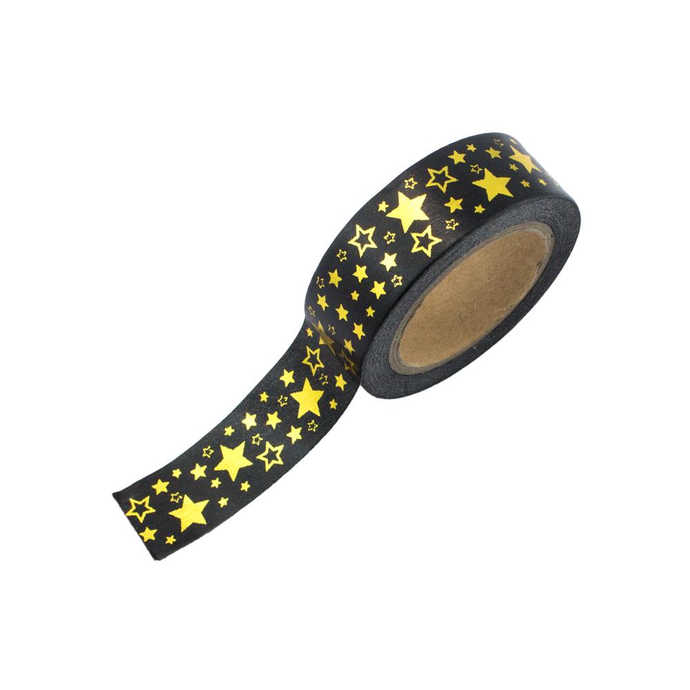 washi tape schwarz mit goldenen sternen washi tape24. Black Bedroom Furniture Sets. Home Design Ideas