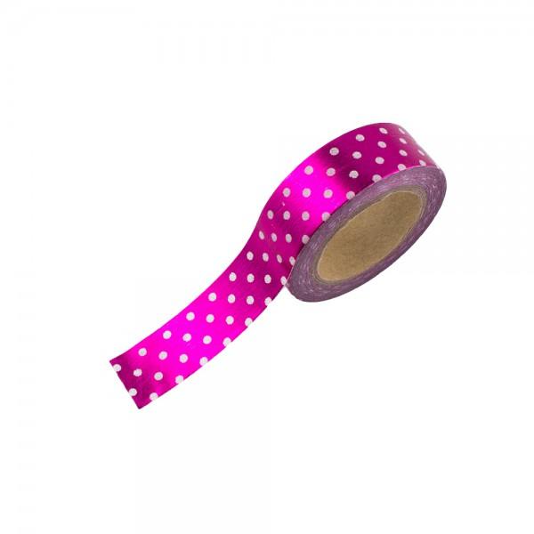 Washi Tape - Pink (glänzend) mit weißen Pünktchen