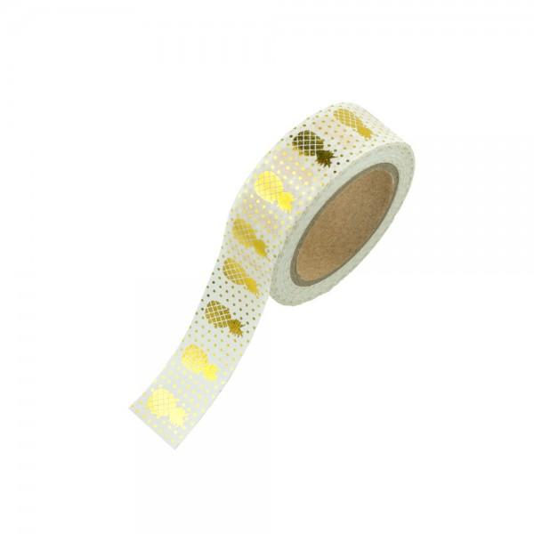 Washi Tape - goldene Ananas weiß