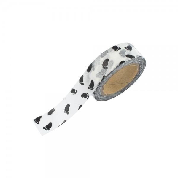 Washi Tape - Weiß mit Fußabdrücken