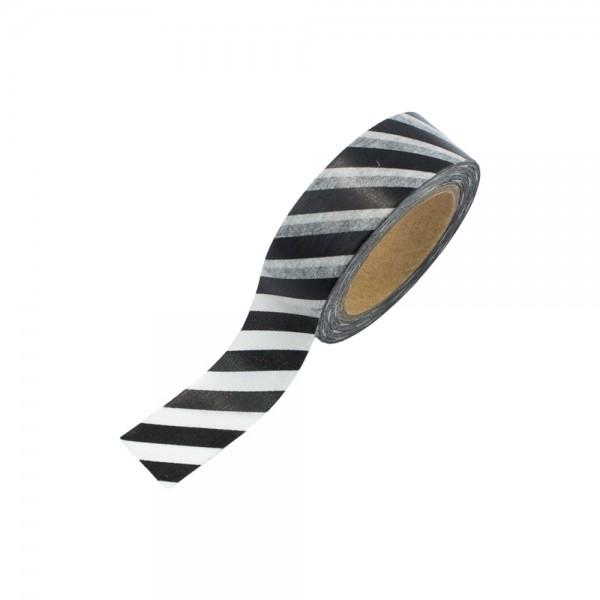 Washi Tape - Schwarz-Weiß quer gestreift