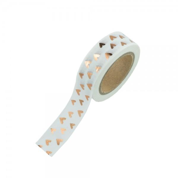 Washi Tape - Weiß mit goldenen Herzen (glänzend)