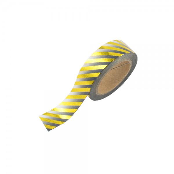 Washi Tape - Grau/Weiß mit goldenen Streifen (glänzend)