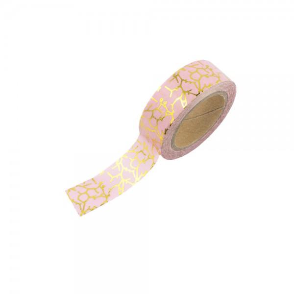 Washi Tape - Rosa mit goldenen Ästen (glänzend)