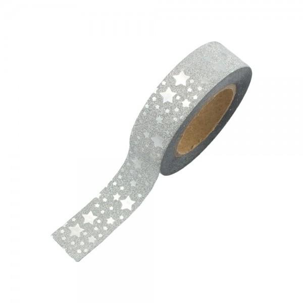 Glitter Tape - Silber mit Sternchen