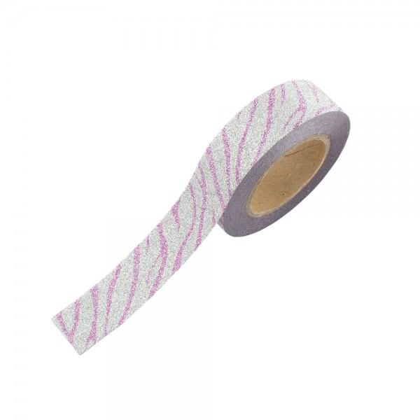Glitter Tape - Silber Pink gestreift