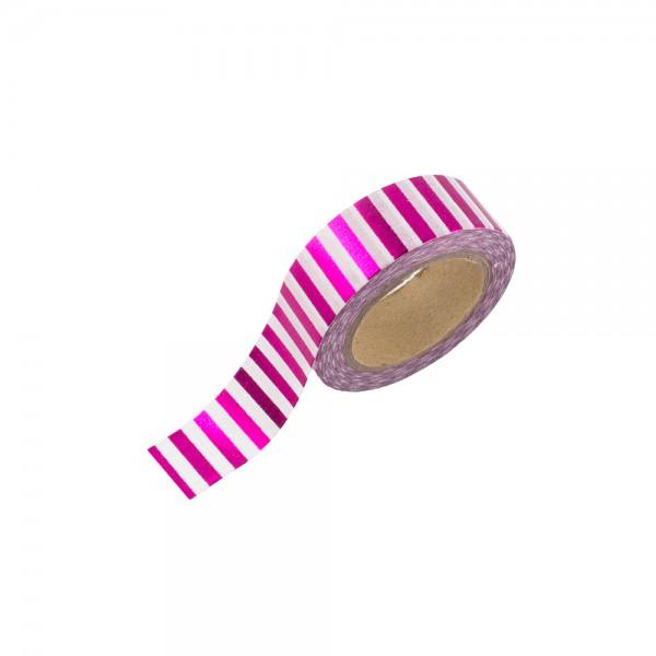Washi Tape - Pink (glänzend) mit weißen Streifen