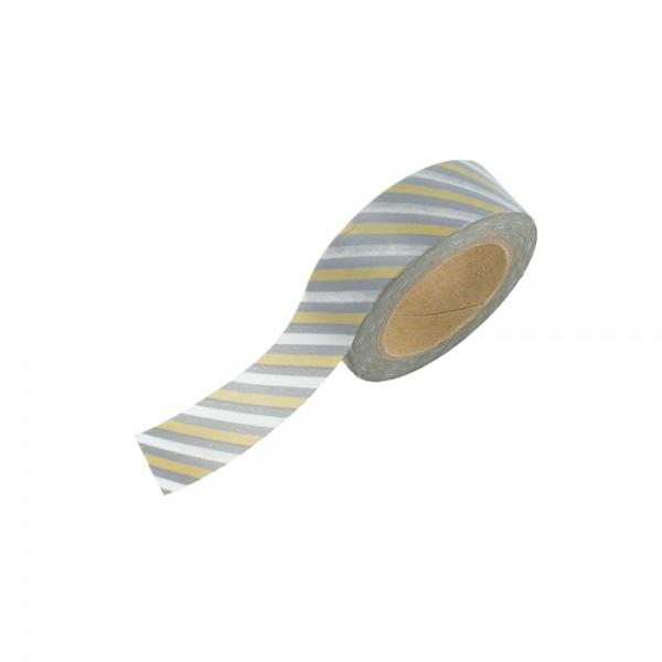 Washi Tape - Weiß/Silber/Gold gestreift
