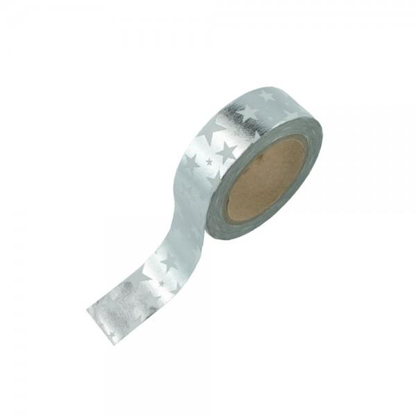 Washi Tape - Silber mit weißen Sternen (glänzend)